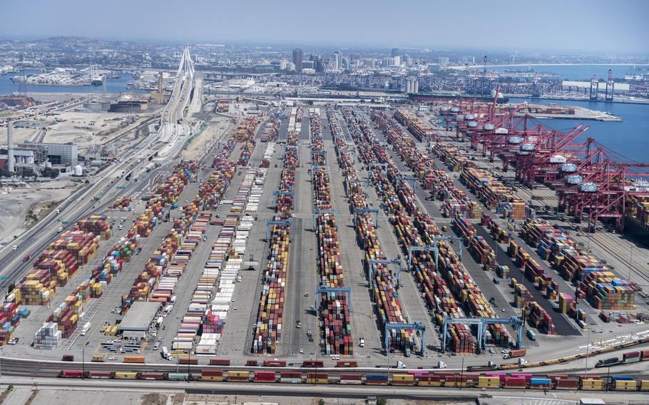 A hectic and overcrowded Port of Los Angeles in September.