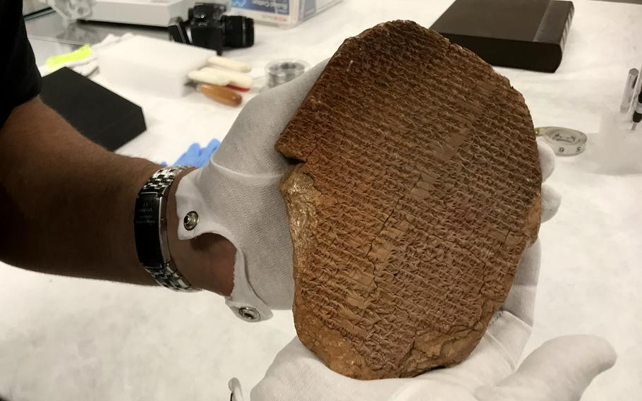 The Gilgamesh tablet will be formally handed over to Iraq in a ceremony Thursday afternoon in Washington, D.C.