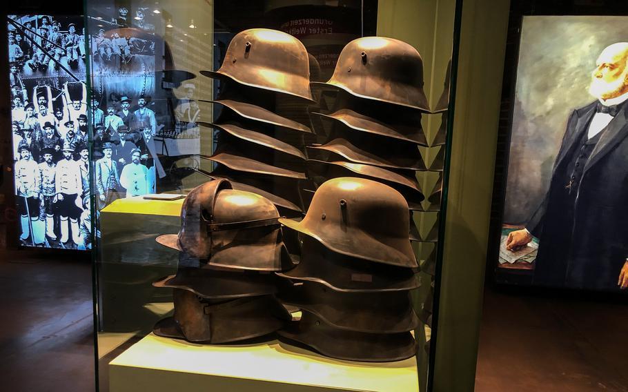 Steel helmets from WWI can be seen at Voelklingen Ironworks in Voelklingen, Germany.