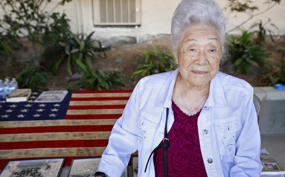 With the intent to recognize surviving Japanese Americans of the World War II incarceration camps for their sacrifice, and to honor their legacy and memory, Judge Johnny Gogo, a California Superior Court Judge from San Jose, obtained two WWII-era 48-star American flags with the intent of having survivors sign them. Yukiko Sugiyama, 100, was in Poston Internment Camp in Yuma. She signed the flag at the Buddhist Temple of San Diego on Sunday, Sept. 19, 2021.
