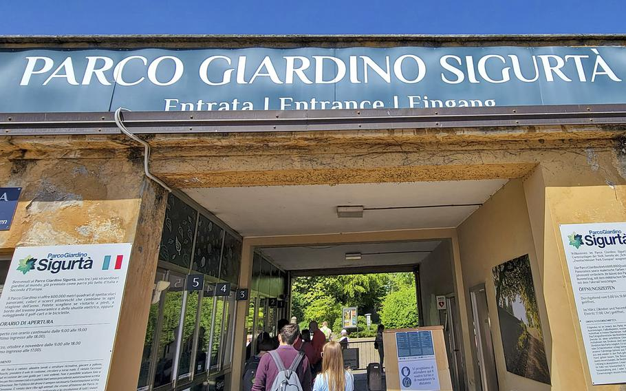Visitors enter the Garden Park Sigurta in Valeggio sul Mincio, near Verona, Italy. The park has received many national and European awards for its beauty.