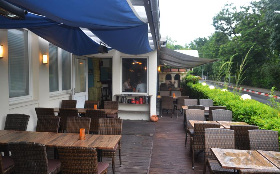 The Havana Restaurant and bar's outside seating on a rainy day, June 29, 2021, in Wiesbaden, Germany.
