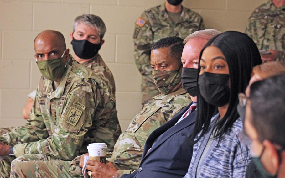 Maj. Gen. Michael Keating, deputy commander for support (U.K.) of III Corps and Fort Hood; Lt. Gen. Gary Brito, deputy chief of staff, G-1 of the U.S. Army; and Lt. Gen. Jason Evans, deputy chief of staff, G-9 of the U.S. Army, listen intently as Cpl. Elizabeth Allen-Perez provides some feedback following a sexual assault and suicide prevention demonstration at Fort Hood's new People First Center Oct. 7.  (U.S. Army photo by Brandy Cruz, Fort Hood Public Affairs)