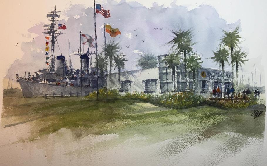 An artist's rendering shows plans for the USS Orleck docked in downtown Jacksonville with a ticket office and gift shop.
