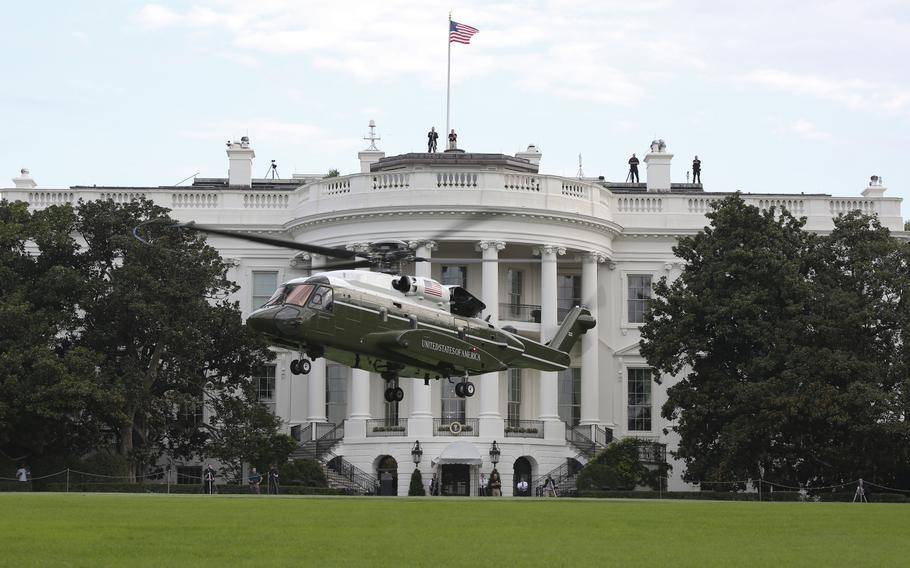 Marine Helicopter Squadron One runs test flights of the new VH-92A over the south lawn of the White House on Sept. 22, 2018.