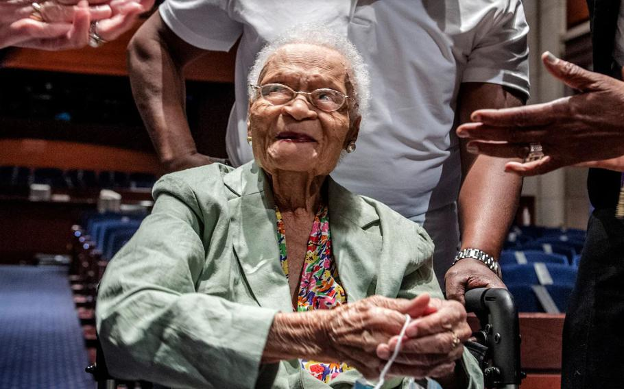 Viola Fletcher, 107, a survivor of the Tulsa race massacre, is shown here in a screen capture from video as she testifies before Congress.