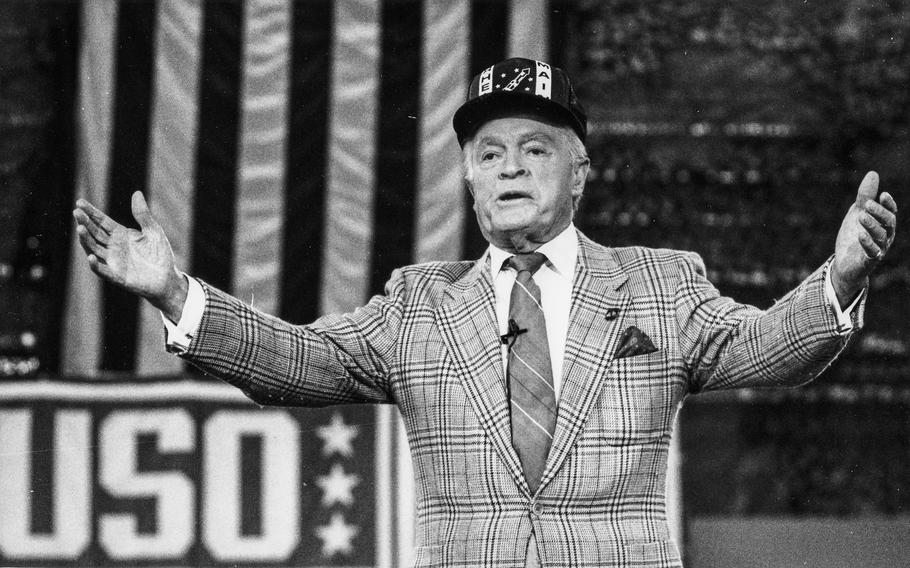 May, 1990: Bob Hope sports a Rhein-Main AB jacket while saying goodbye on what was billed as his farewell tour of American overseas bases.
