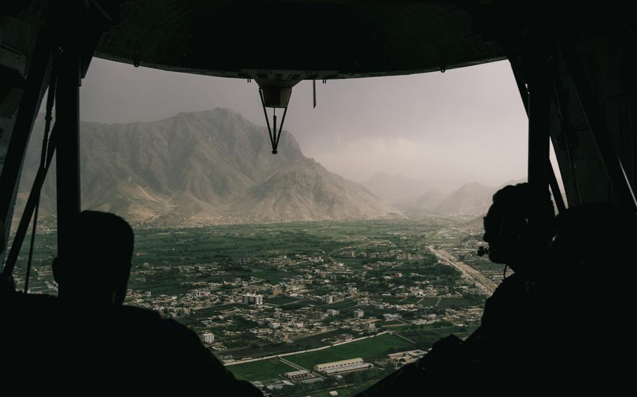 Afghan security forces fly over the city of Kabul, Afghanistan, in April 2021.