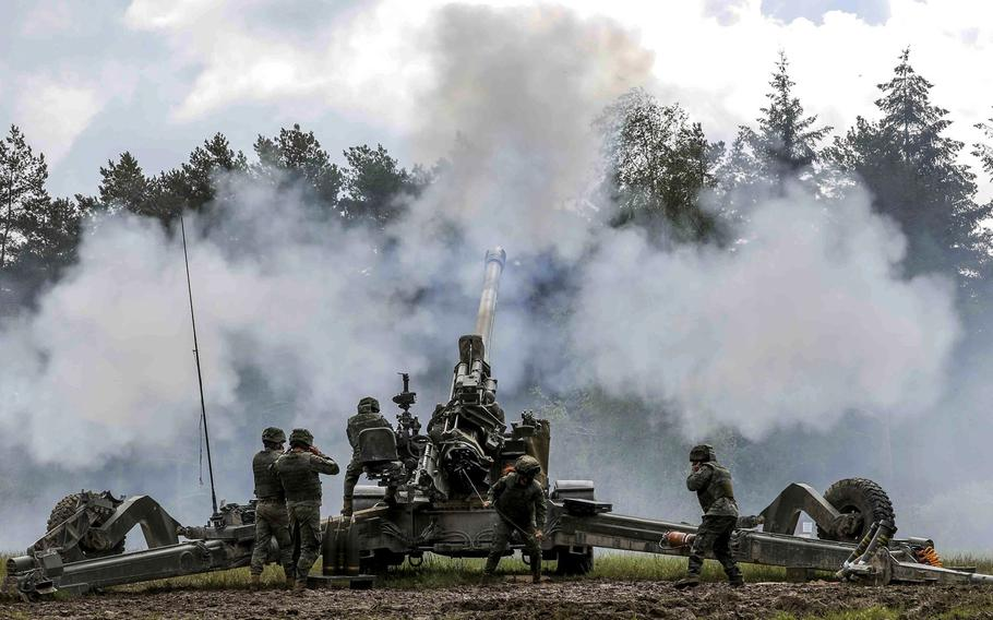 Soldiers with the Spanish army's 63rd Field Rocket Launcher Artillery Regiment fire during Dynamic Front 21, May 19, 2021 at Grafenwoehr Training Area, Germany. The exercise includes troops from 15 nations, including the United States.