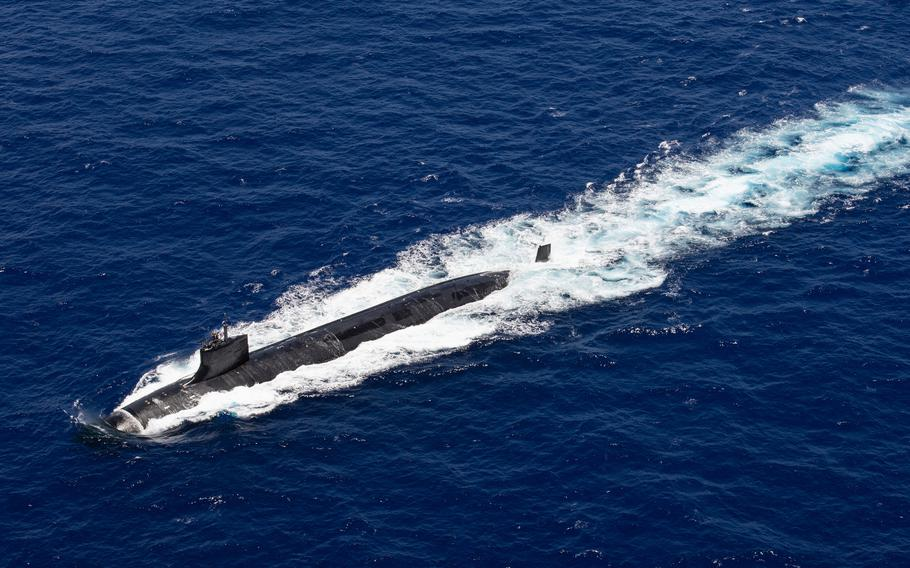 The fast-attack submarine USS Seawolf transits the Pacific Ocean on June 22, 2021.