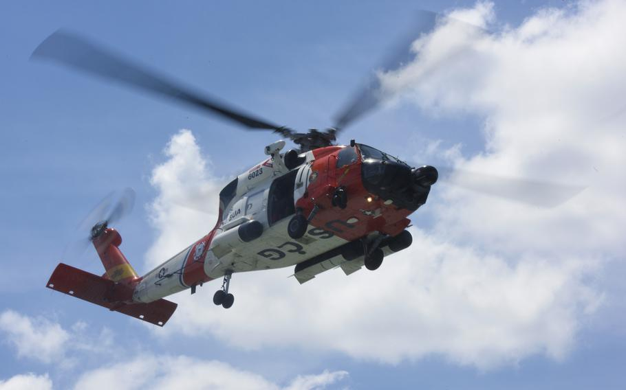 An MH-60 Jayhawk helicopter aircrew from Coast Guard Air Station Elizabeth City, North Carolina, searched in the vicinity of Portsmouth Island in Ocracoke Inlet in North Carolina on Sunday for a 27-year-old woman who is missing after a canoe capsized.