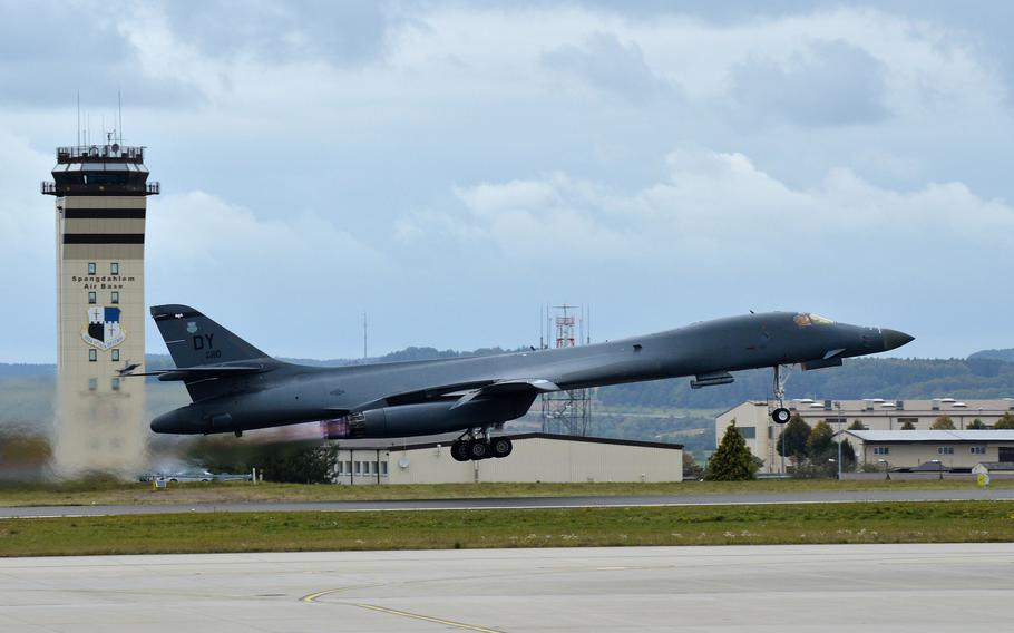 """A B-1B Lancer from the 9th Expeditionary Bomb Squadron takes off from Spangdahlem Air Base, Germany, Oct. 11, 2021. A pair of """"Bones"""" landed at the base for the first time ever, refueling during a Bomber Task Force mission in Europe."""