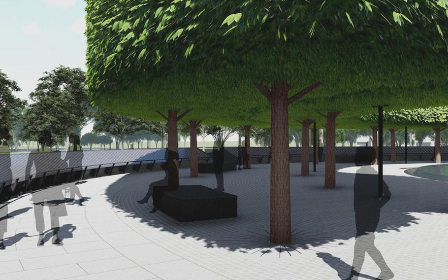 An artist's rendering shows an interior view of the Korean War Veterans Memorial Wall of Remembrance slated to be completed on the National Mall in July 2022.