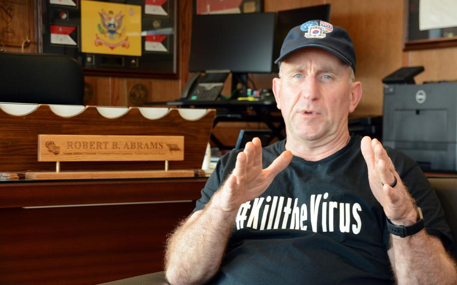 Gen. Robert Abrams discusses the coronavirus threat during an interview with Stars and Stripes in his office as Camp Humphreys, South Korea, March 27, 2020.
