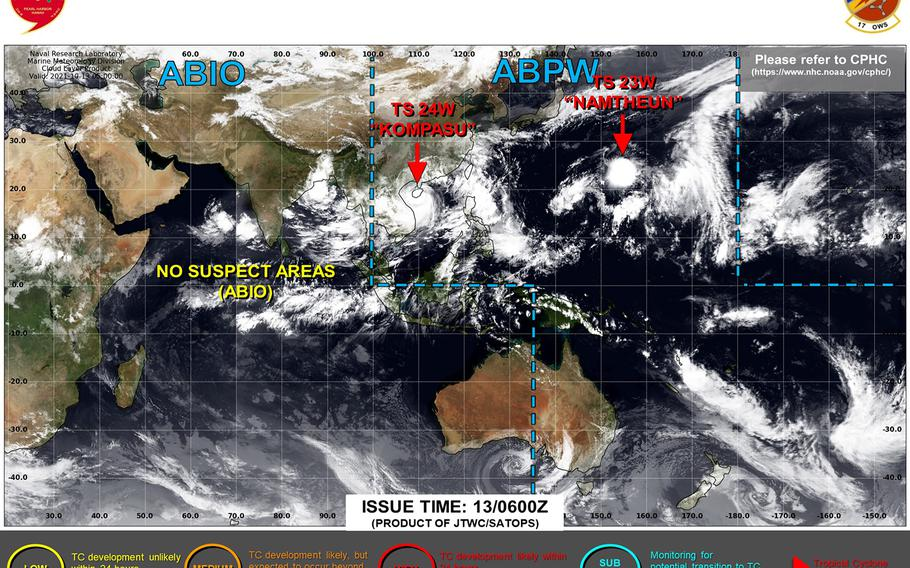 Storm Signal 8 lowered, Strong Wind Signal 3 raised for Hong Kong as Kompasu keeps moving west toward Vietnam.