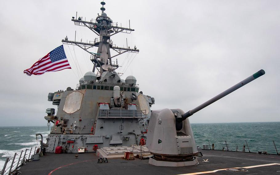 The destroyer USS Barry conducts operations in the South China Sea in November 2020. The U.S. military was crippled during a classified October 2020 war game designed to test its ability against an adversary such as China, which has since prompted the Pentagon to revamp its plans for fighting, Vice Chairman of the Joint Chiefs of Staff Gen. John Hyten said recently.