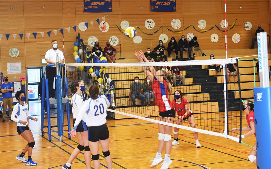 Keeley Bolton from Ramstein attempts to block a ball during the Wiesbaden-Ramstein game played in Wiesbaden on Saturday, Oct. 9, 2021.