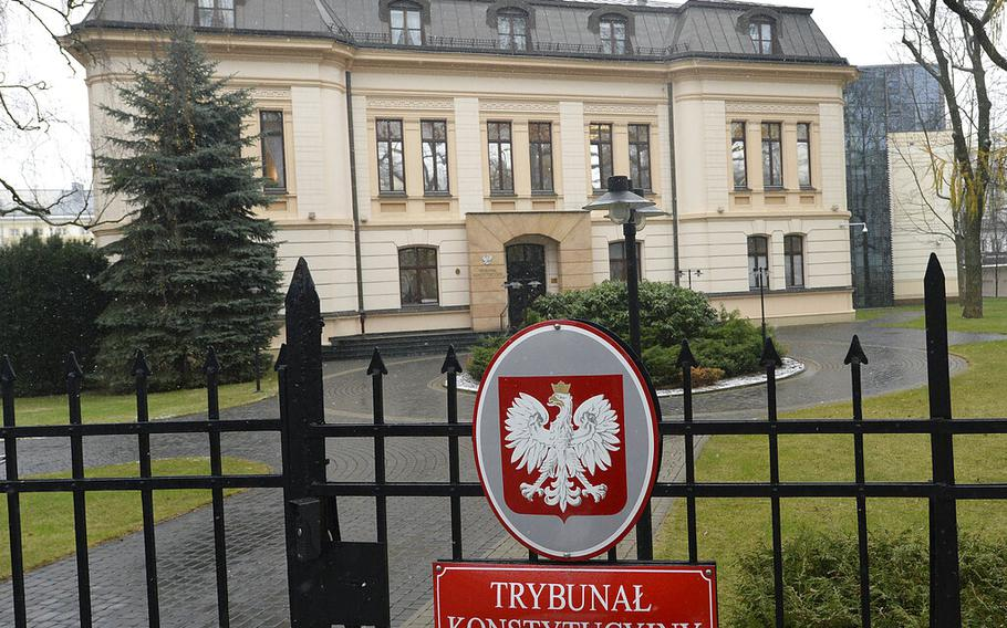 FILE - In this Wednesday, Dec. 20, 2017 file photo, Poland's Constitutional Tribunal is seen in Warsaw, Poland. Poland's constitutional court is to rule Thursday, Oct. 7, 2021 in a key case over whether Polish or European Union law has primacy in the EU member country. The ruling by the Constitutional Tribunal is expected to define the future of Poland's already troubled relationship with the 27-member bloc in the key area of law and justice.