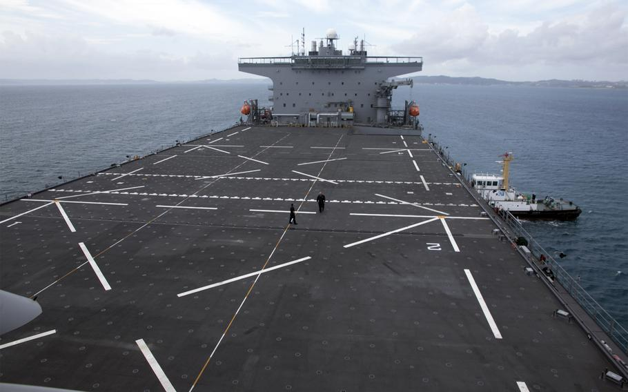 The USS Miguel Keith's flight deck has space for four helicopters at a time and separates the forward and aft deckhouses.