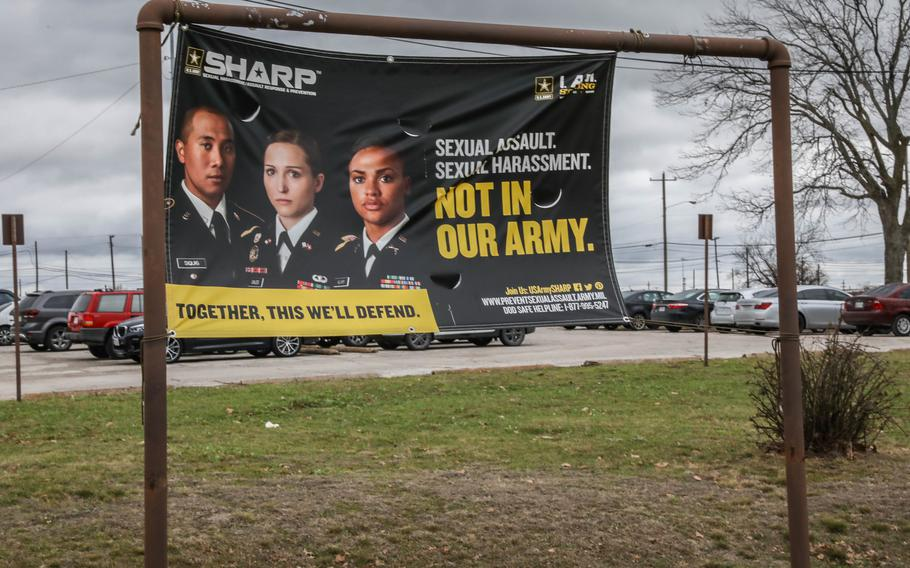 A banner promotes the Army's Sexual Harassment/Assault Response and Prevention, or SHARP, program outside the SHARP 360 building at Fort Hood, Texas, on March 1, 2021.