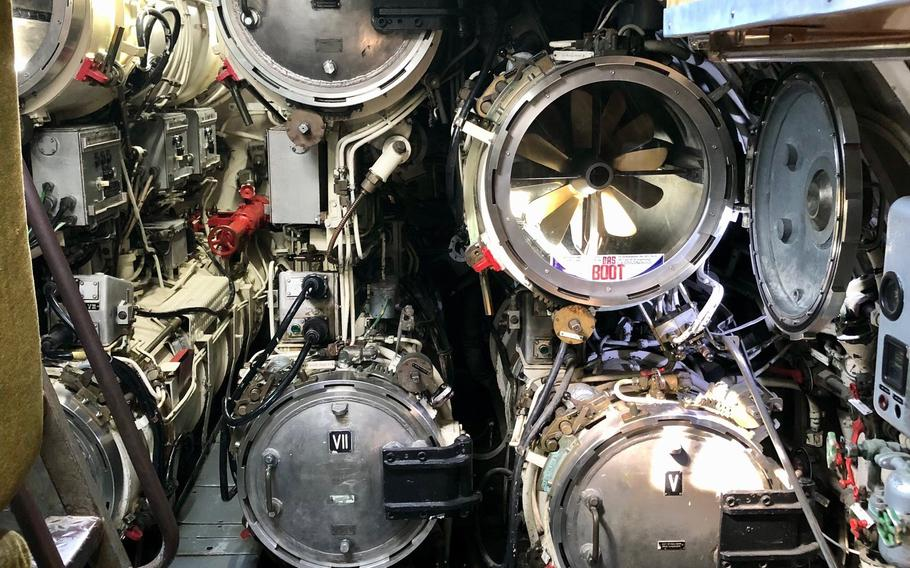 The torpedo room of the German navys coastal U9 submarine at the Technik Museum Speyer in Germany. Hundreds of visitors line up during the weekend to tour the cramped interior of the sub.