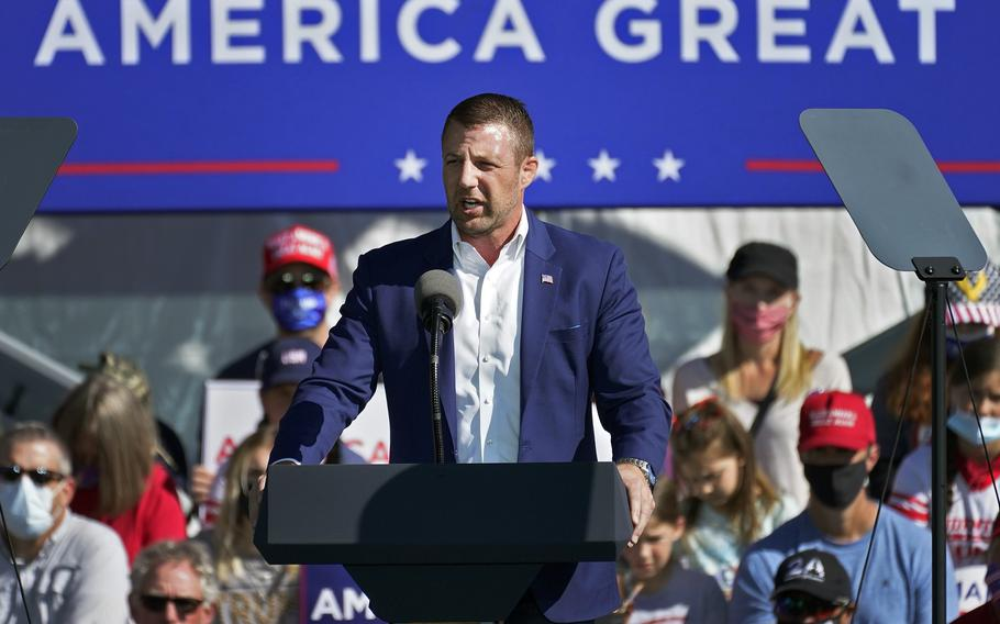In this Oct. 30, 2020, file photo, U.S. Rep. Markwayne Mullin, R-Okla., speaks at a campaign rally in Flagstaff, Ariz.