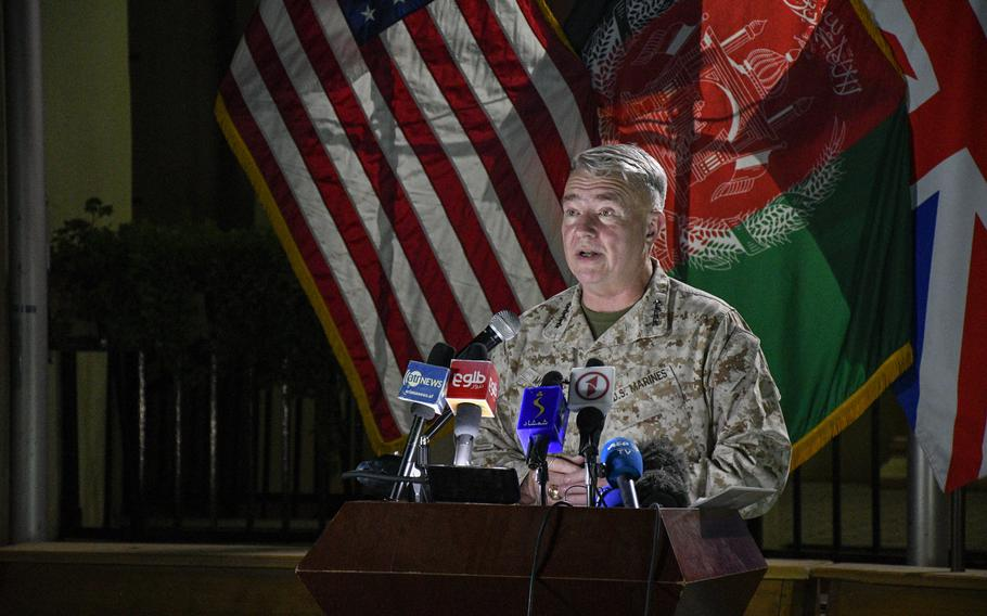 Marine Gen. Frank McKenzie, commander of U.S. Central Command and head of Afghan troops in Afghanistan, speaks to reporters at the former Resolute Support headquarters in Kabul, now called U.S. Embassy South, on July 25, 2021. McKenzie said the U.S. has accelerated its airstrike campaign against the Taliban in support of Afghan forces.