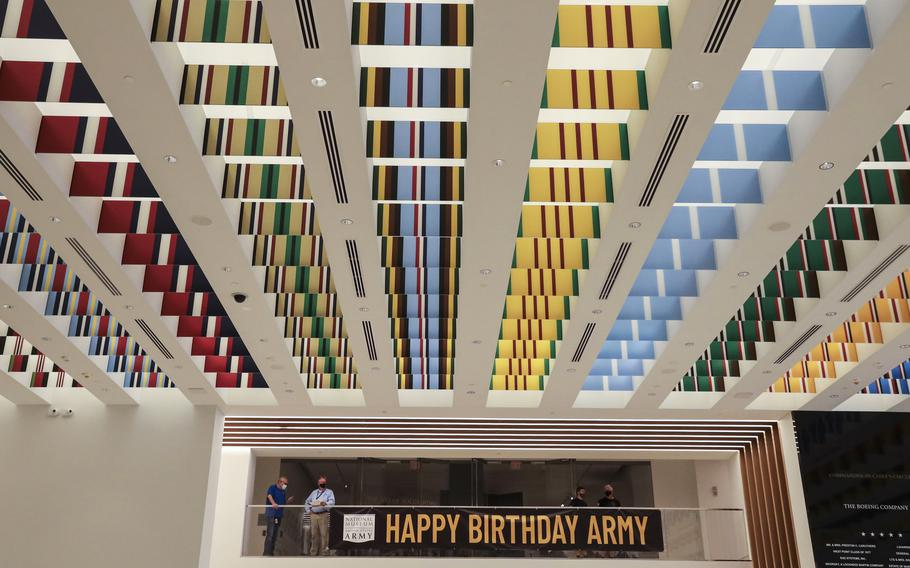 Glass panels matching the Army's campaign streamers line the ceiling in the lobby of the National Museum of the United States Army on its reopening day (and the service's 246th birthday), June 14, 2021.
