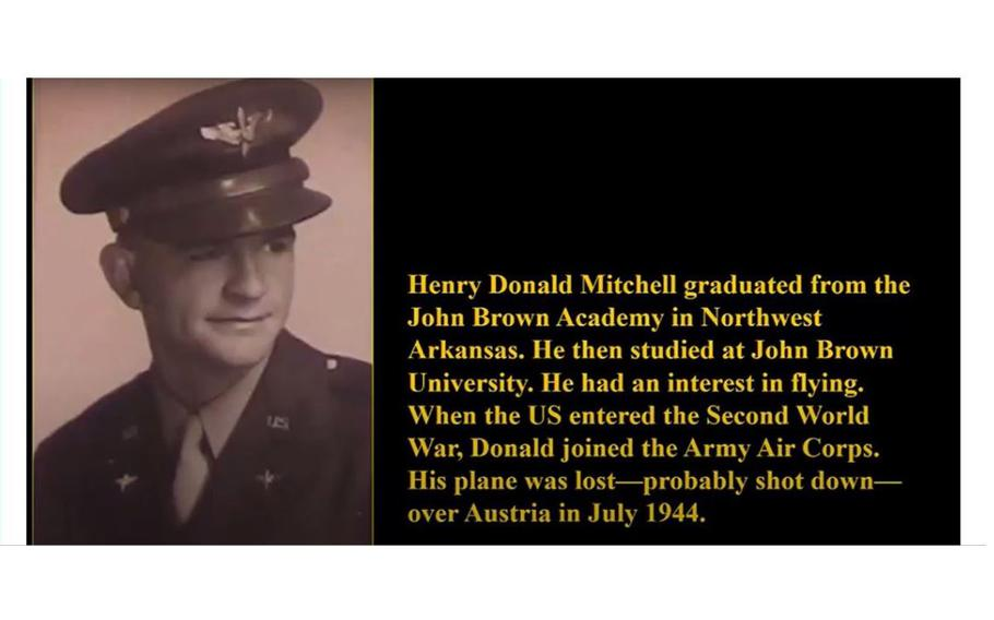 The remains of 2nd Lt. Henry Donald Mitchell of Harmon, Ark., who crashed in Austria in 1944, were recently identified by the Department of Defense.
