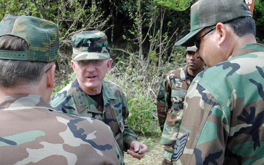 Chaplains may wear their occupational badge sewn on and centered above the visor, under an Air Force change that allows airmen to wear tactical operational camouflage pattern caps.