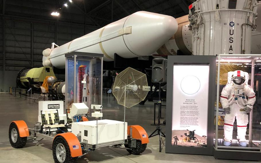The National Museum of the U.S. Air Force's latest exhibit celebrating the 50th anniversary of the Apollo 15 mission to the moonincluded a replica of the first of three lunar rovers astronauts drove on the moon's surface.