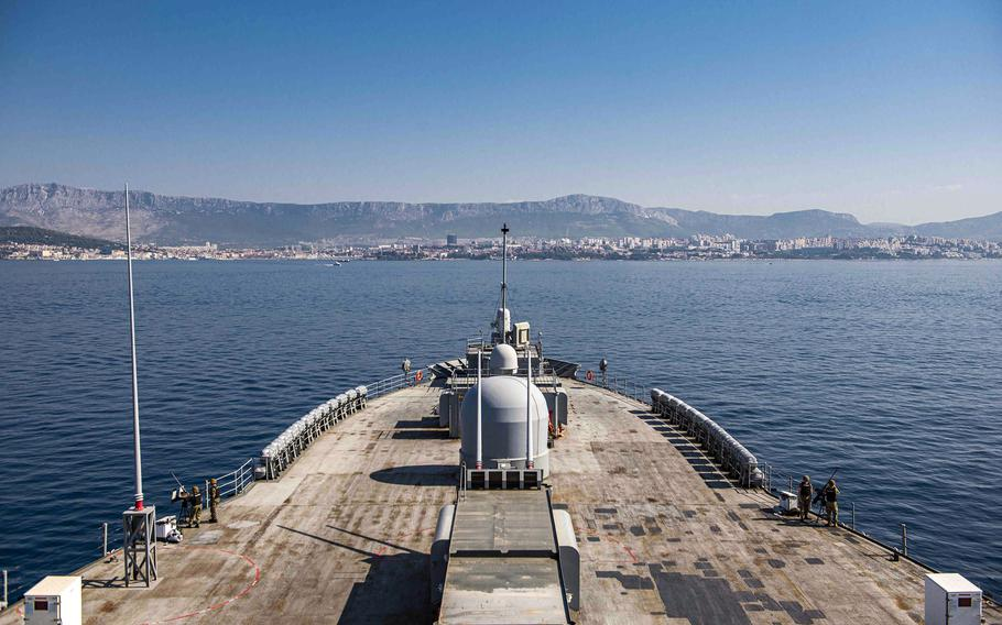 USS Mount Whitney, 6th Fleet's flagship, arrives in Split, Croatia, for a port visit on July 30, 2021, before kicking off Large Scale Exercise 2021.