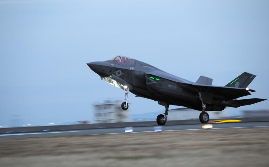 An F-35B Lightning II with Marine Fighter Attack Squadron 121 lands at Marine Corps Air Station Iwakuni, Japan, Jan. 18, 2017.