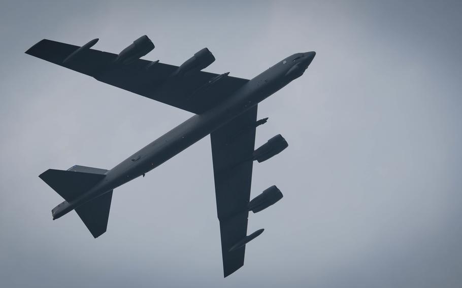 A B-52 Stratofortress flies over RAF Fairford, United Kingdom, Sept. 26, 2017.