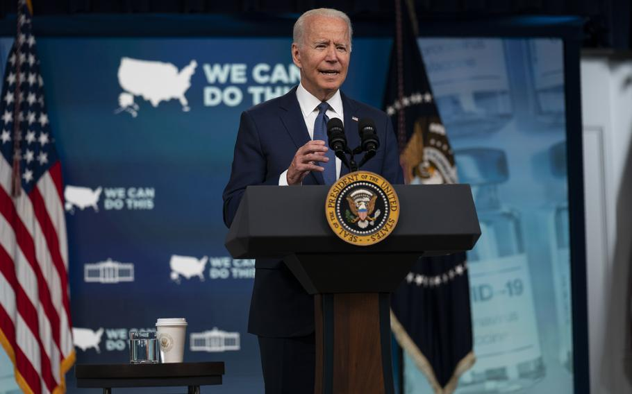President Joe Biden speaks during an event in the South Court Auditorium on the White House campus, Tuesday, July 6, 2021, in Washington.