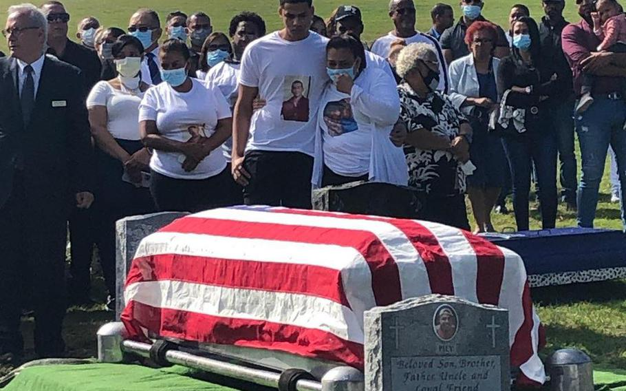 Anthony Munoz died on Sept. 7 on his first day of boot camp at Parris Island, S.C. His body was escorted back to the city on Thursday. A wake was held Friday evening, followed by a funeral and burial at St. Mary's Cemetery with full military honors.