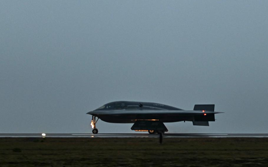 A B-2 Spirit stealth bomber rolls down the runway at Keflavik Air Base, Iceland, on Aug. 23, 2021.