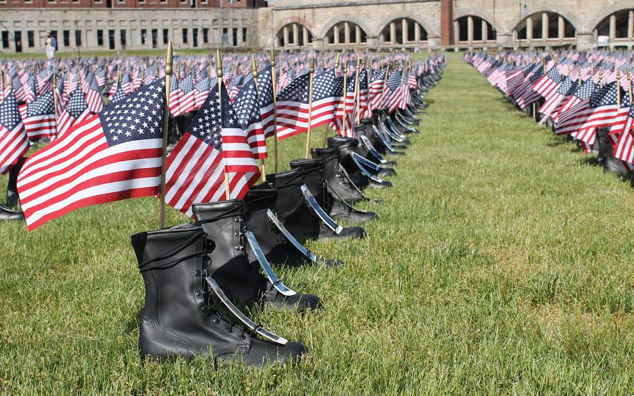 The Boots on the Ground for Heroes Memorial is on display at Fort Adams State Park from May 28-31.