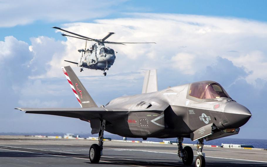 A U.S. Marine Corps F-35B Lightning II stealth fighter prepares to launch from the HMS Queen Elizabeth on the Pacific Ocean on Aug. 20, 2021.