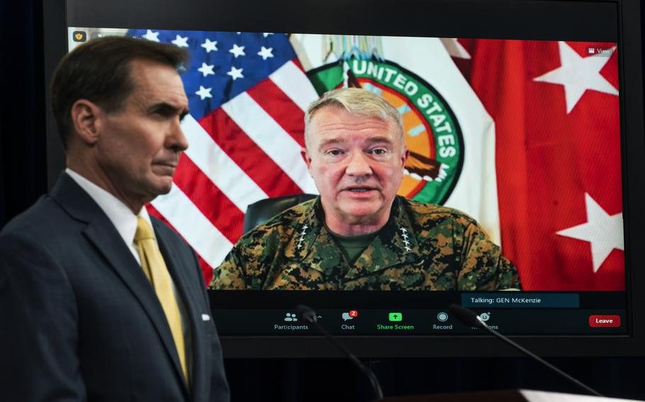 Commander of U.S. Central Command Gen. Frank McKenzie appears on screen from MacDill Air Force Base, in Tampa, Fla., where he spoke about Afghanistan on Aug. 30, 2021, during a virtual briefing moderated by Pentagon spokesman John Kirby at the Pentagon. The Pentagon retreated from its defense of a drone strike that killed multiple civilians in Afghanistan last month, announcing Friday, Sept. 17, that only civilians were killed in the attack, not an Islamic State extremist as first believed.