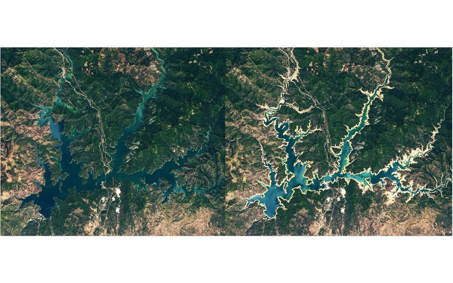 Satellite imagery shows Shasta Lake in July 2019, left, and June 2021. The state's largest reservoir is at about 35% of its capacity, officials said.