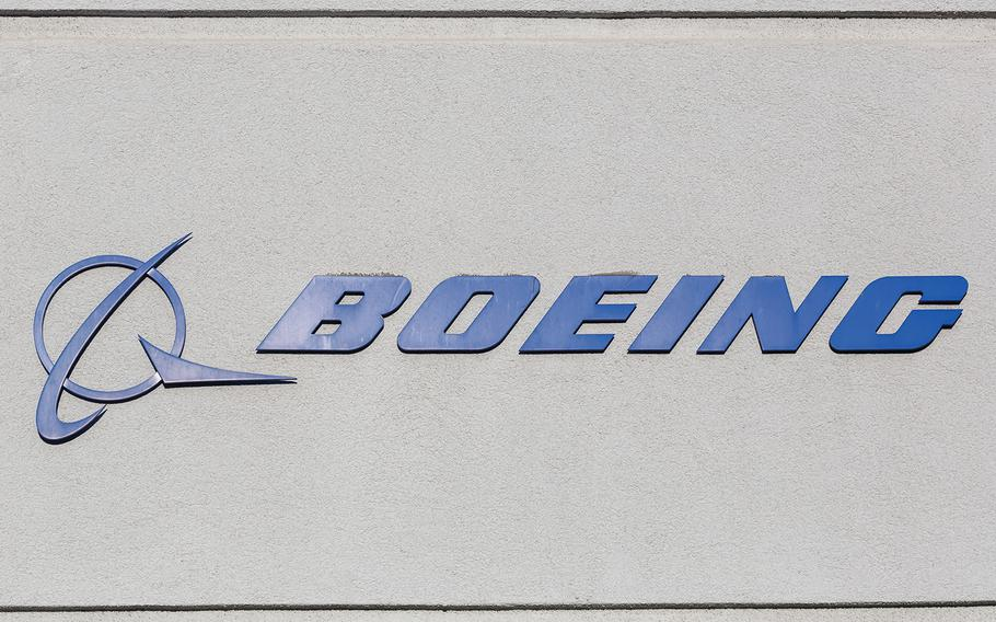 Boeing logo on a building at Los Angeles International Airport.