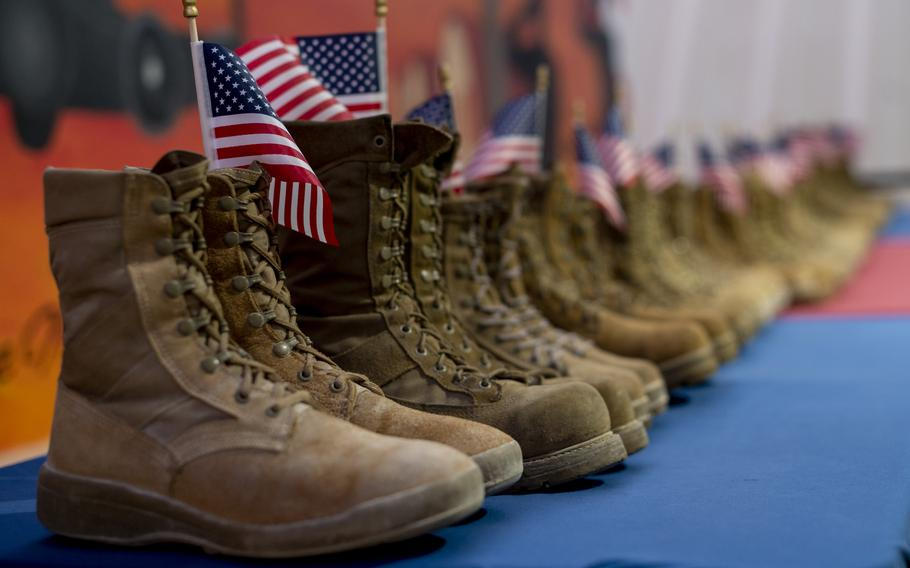 Airmen from the 332nd Air Expeditionary Wing honor the daily estimated number of veterans who take their own lives, symbolized by 22 pairs of boots in recognition of Suicide Prevention Month on Sept. 8, 2021, from an undisclosed location somewhere in Southwest Asia. Suicide Prevention Awareness Month stresses the importance of mental health and encourages individuals to seek help if they need it.