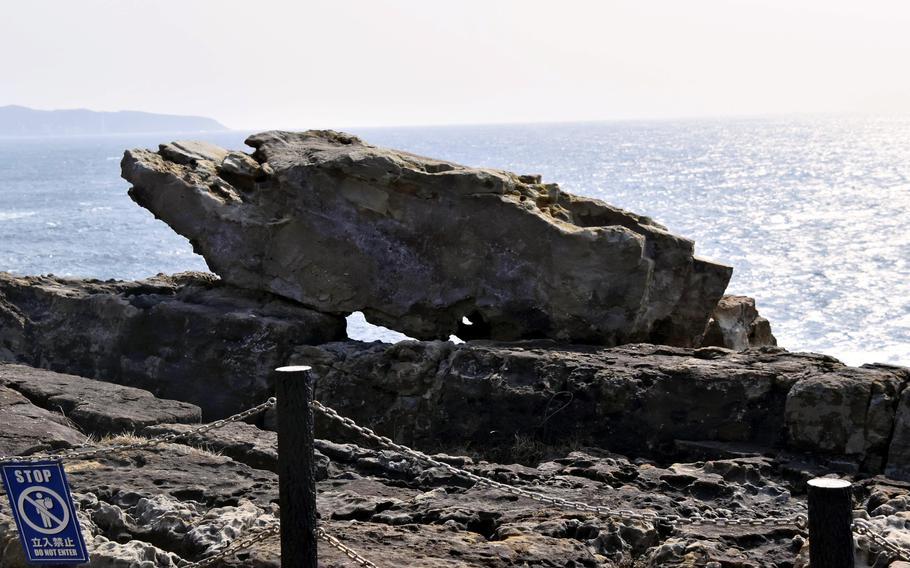A boulder named Sudden Rock is seen at the Sandanbeki cliffs in Shirahama, Wakayama Prefecture, Japan.