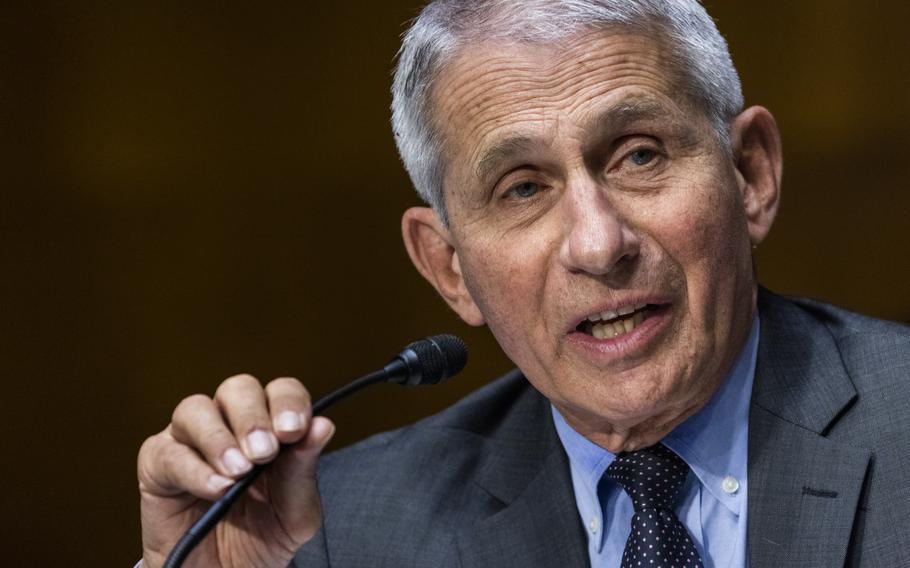 Dr. Anthony Fauci, director of the National Institute of Allergy and Infectious Diseases, speaks during hearing on Capitol Hill in Washington on May 11, 2021.
