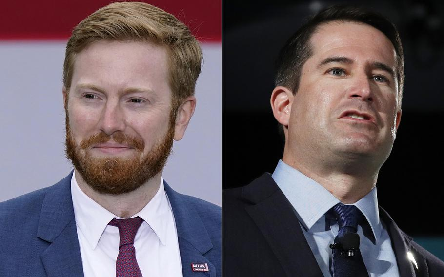 Reps Peter Meijer, R-Mich. left and Seth Moulton, D-Mass.