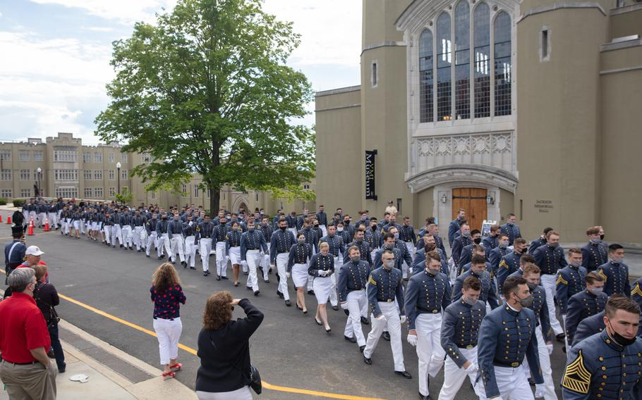 Members of the class of 2021 march to the change of command at VMI, where men make up 87% of the school's 1,698 cadets.