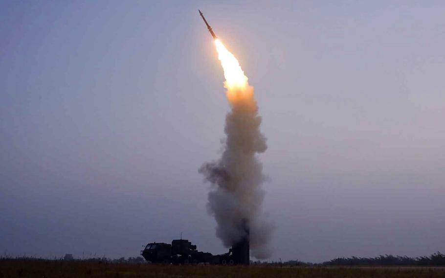 This photo released by North Korea's state-run Korean Central News Agency puports to show an anti-aircraft missile test on Thursday, Sept. 30, 2021.