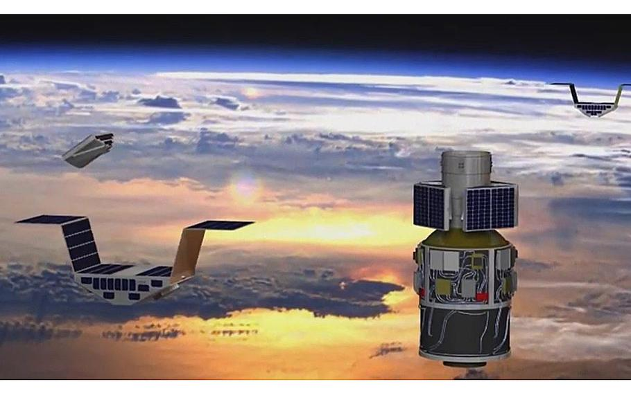 A video screen grab shows an illustration of the Cyclone Global Navigation Satellite System.