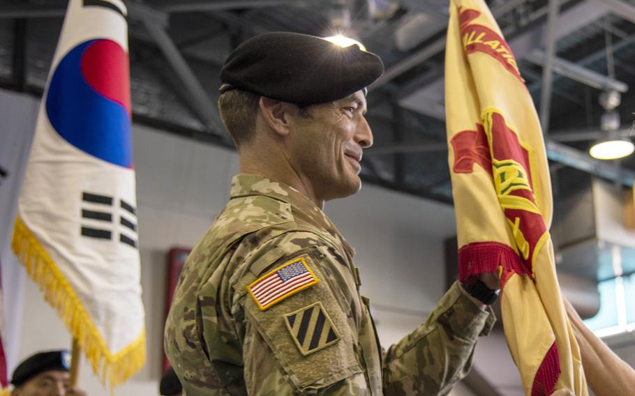 Col. Edward Ballanco wrapped up his final assignment as U.S. Army Garrison Daegu's commander at Camp Walker, South Korea, Monday, July 12, 2021.